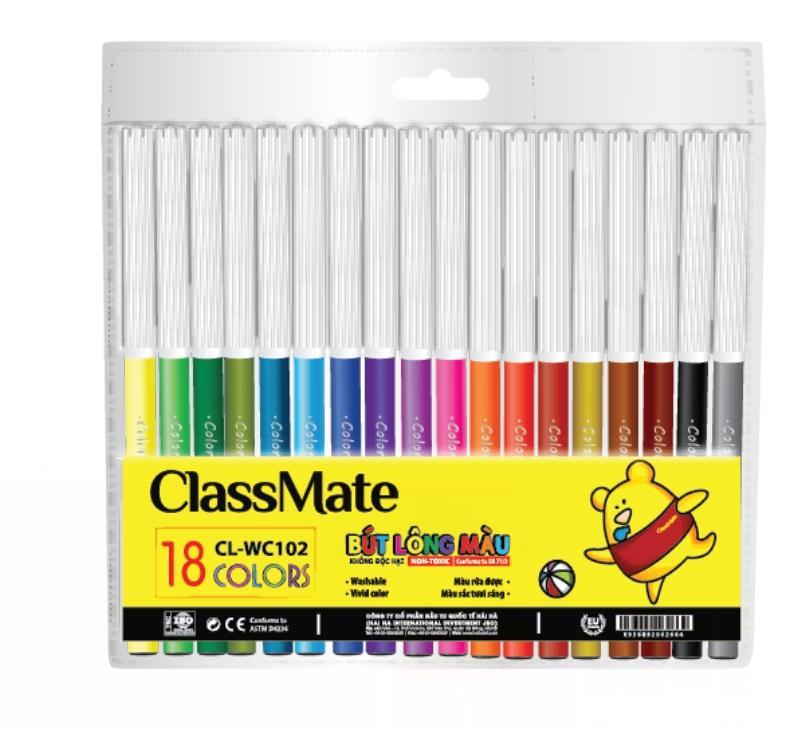Vỉ bút lông màu(18 màu) (CL-WC102)